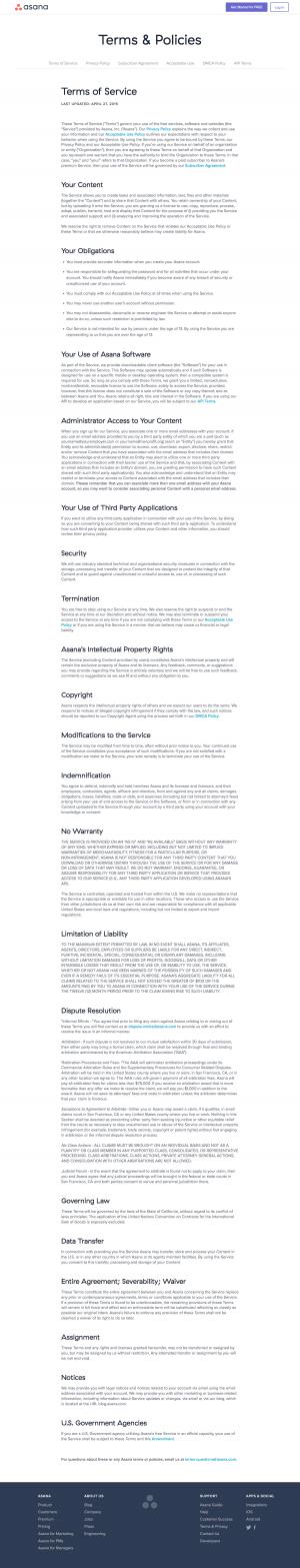 Legal page inspiration - Asana