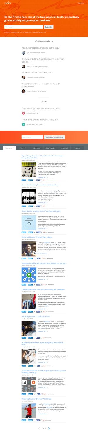 Blog page - Zapier