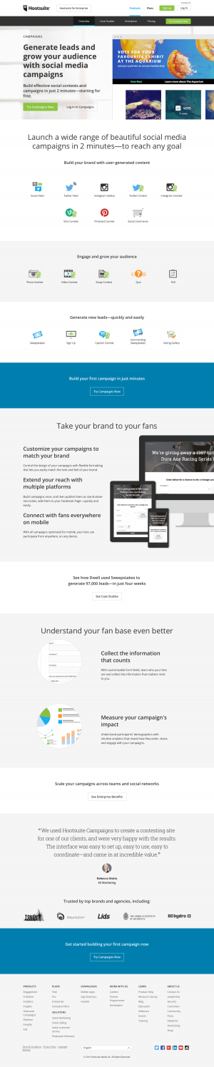 Features campaigns page inspiration - Hootsuite
