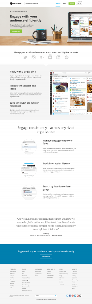 Features engagement page inspiration - Hootsuite