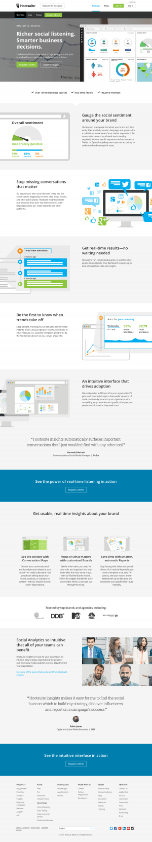 Features insights page inspiration - Hootsuite