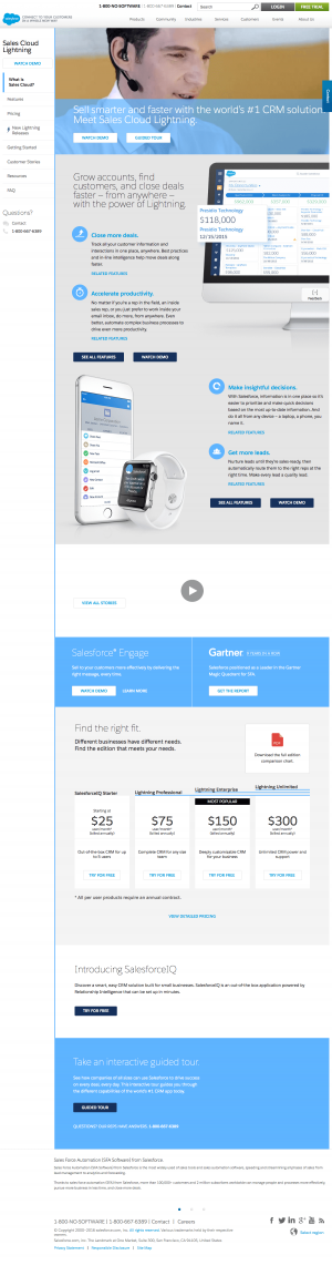 Features page inspiration - Salesforce