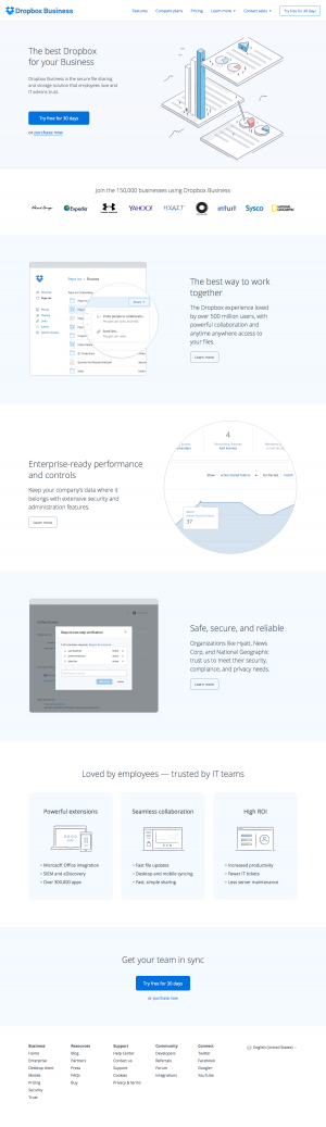 Features business page inspiration - Dropbox