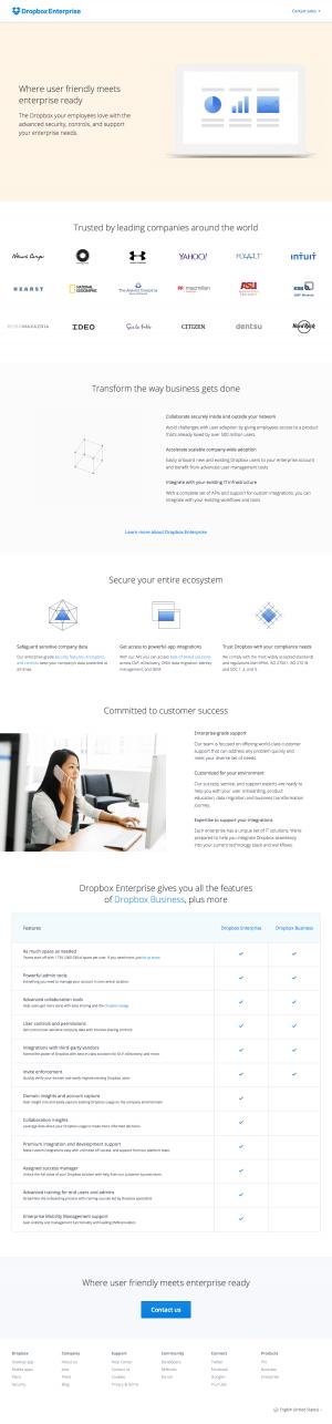 Features enterprise page inspiration - Dropbox