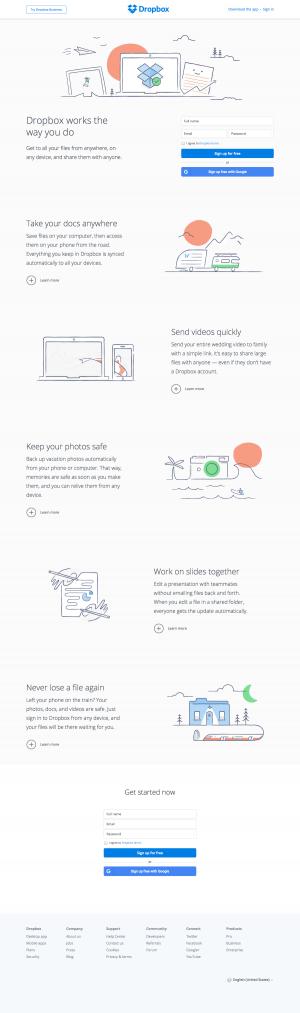 Homepage saas inspiration - Dropbox