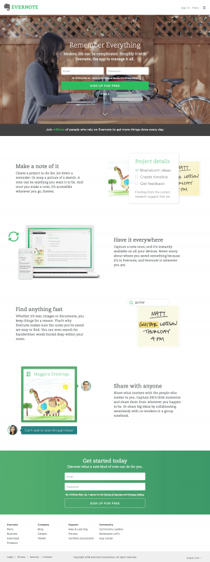 Homepage saas inspiration - Evernote
