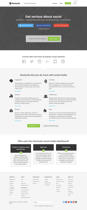 Homepage saas inspiration - Hootsuite
