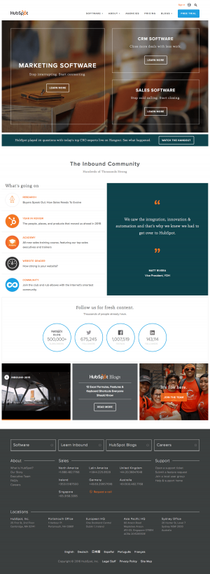 Homepage saas inspiration - HubSpot