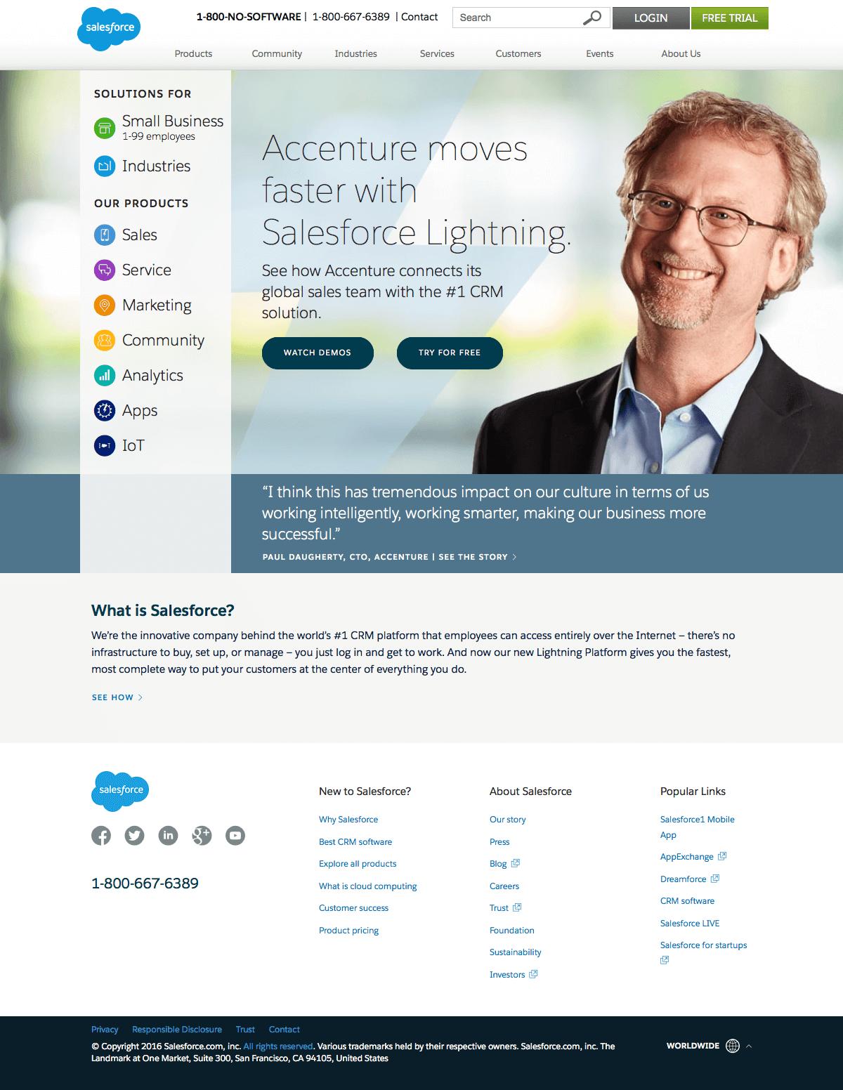 Homepage saas inspiration - Salesforce