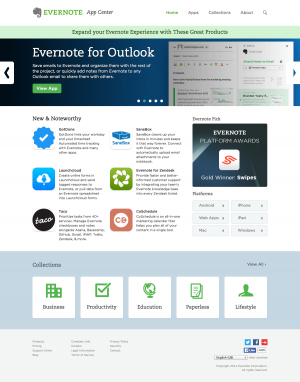 Integrations saas page inspiration - Evernote