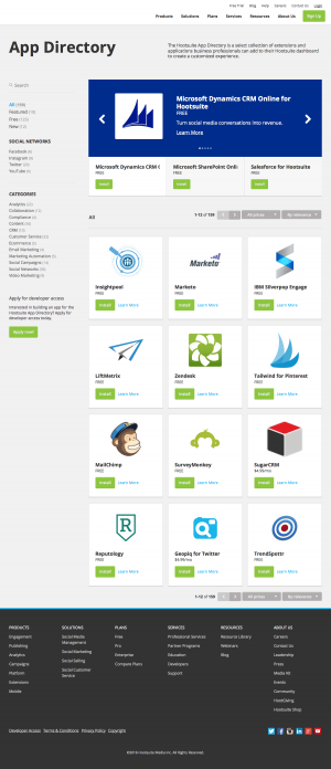 Integrations page inspiration - Hootsuite