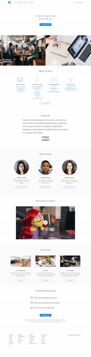 Jobs saas page inspiration - Dropbox