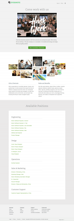 Jobs saas page inspiration - Evernote