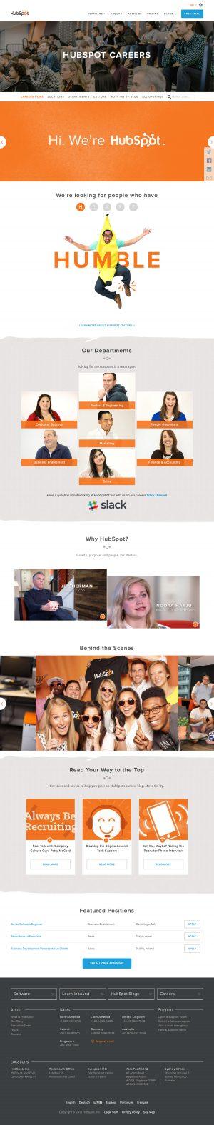 Jobs career saas page inspiration - HubSpot