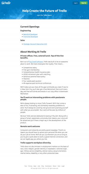 Jobs career saas page inspiration - Trello