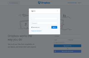 Login form page inspiration - Dropbox