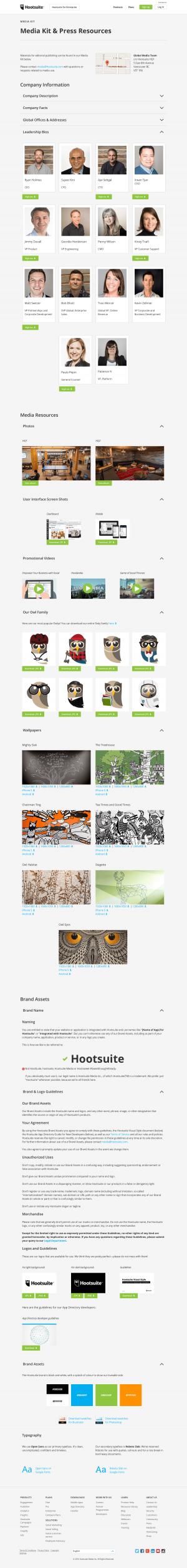 Mediakit page inspiration - Hootsuite