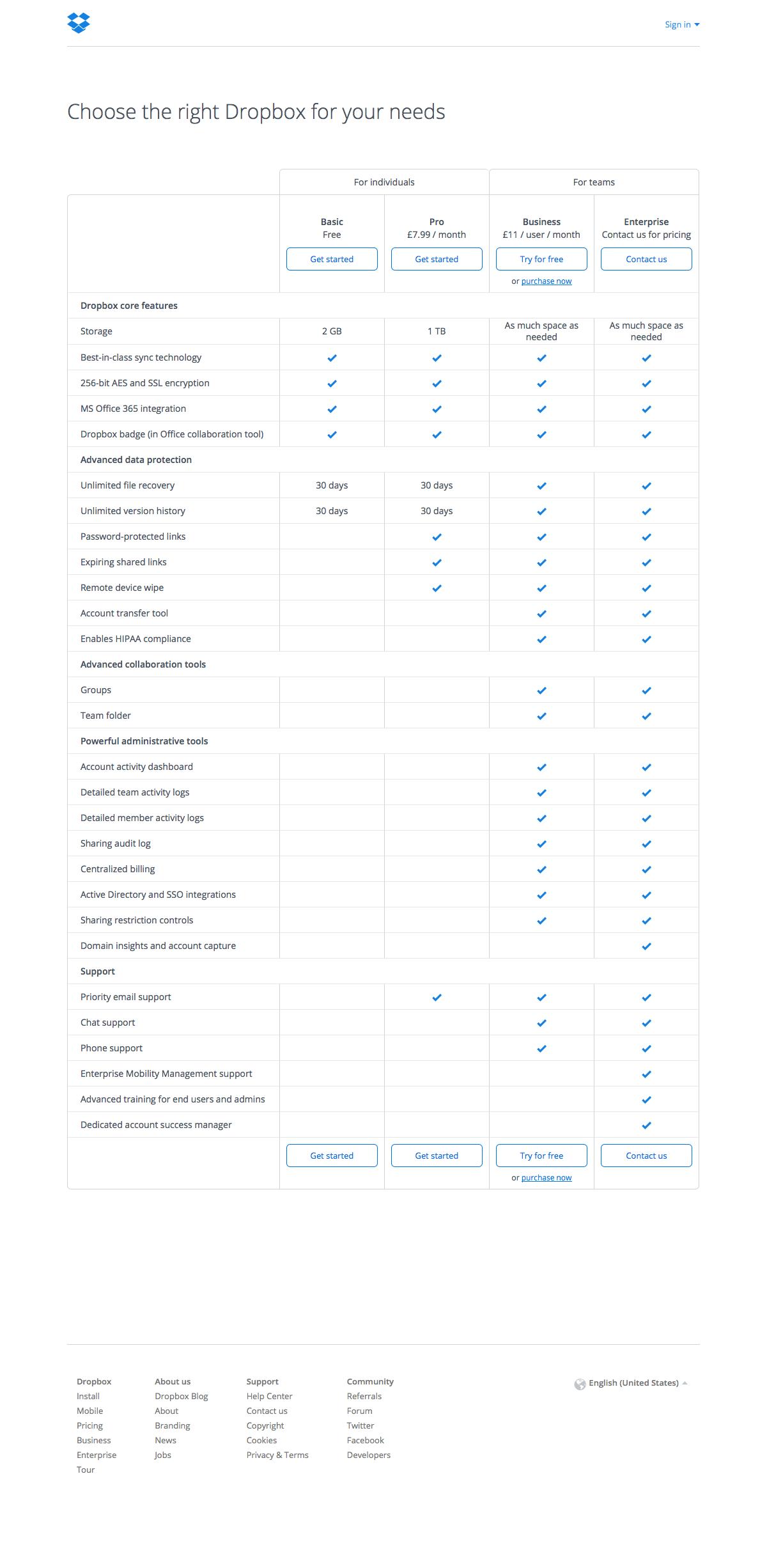 Pricing page inspiration - Dropbox
