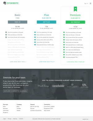 Pricing saas page inspiration - Evernote