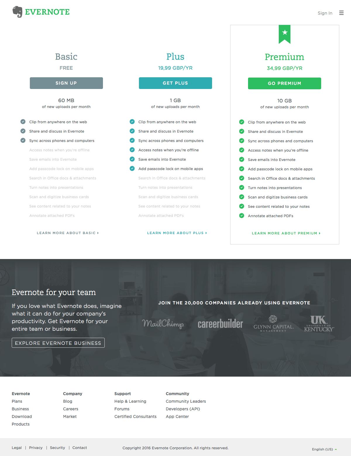 Pricing saas page inspiration - Evernote