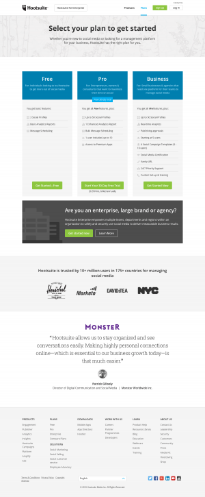 Pricing page inspiration - Hootsuite