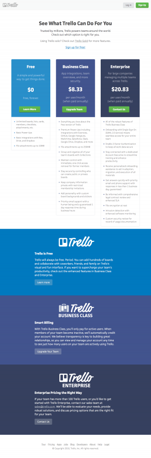 Pricing saas page inspiration - Trello