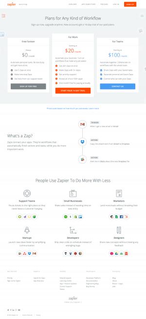 Pricing page inspiration saas - Zapier