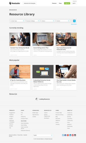 Resources page inspiration - Hootsuite