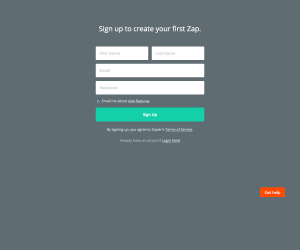 Signup page inspiration - Zapier