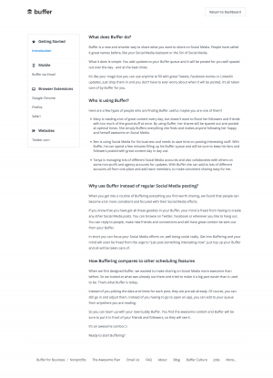 Support page saas inspiration - Buffer