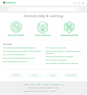 Support saas page inspiration - Evernote