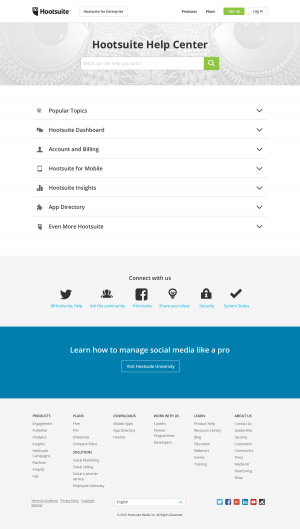Support saas page inspiration - Hootsuite
