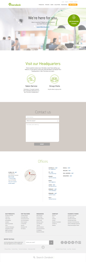 Contact page - Zendesk