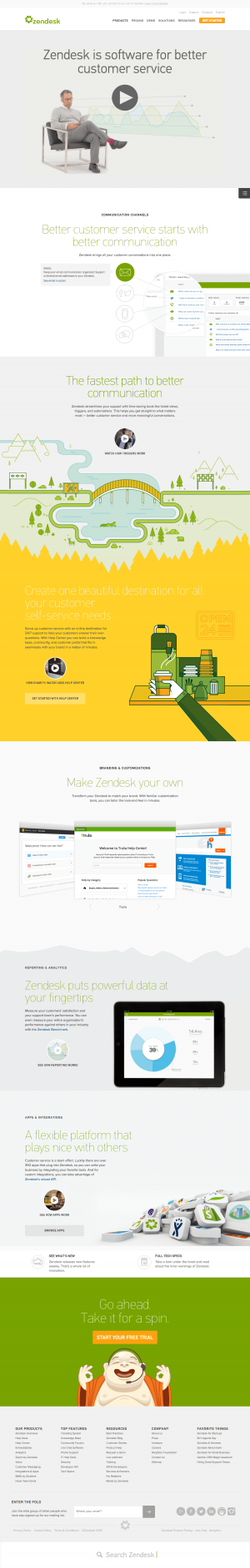 Features inspiration page - saas zendesk