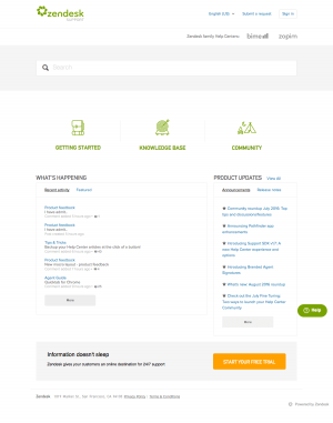 Support page inspiration - saas zendesk