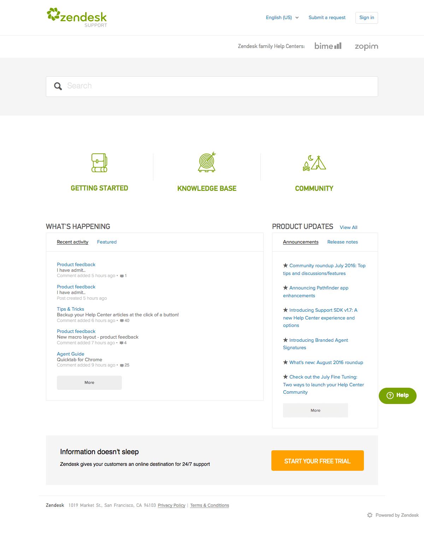 Zendesk - Support page - Find SaaS Websites inspiration