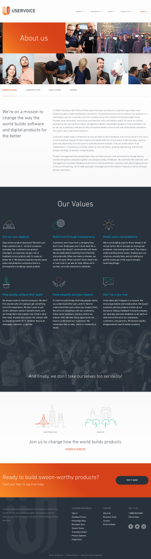 About us page inspiration - saas UserVoice