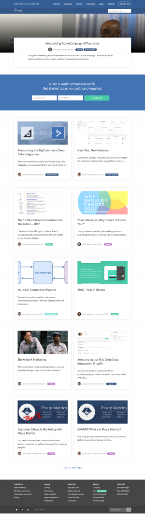 Blog page inspiration - saas activecampaign