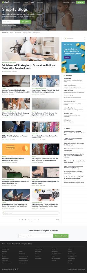 Blog page inspiration - saas Shopify