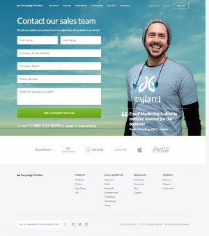 Contact page inspiration - saas Campaign Monitor
