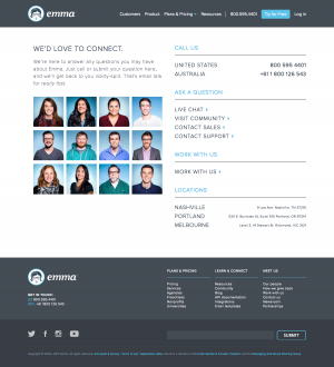 Contact page inspiration - saas Emma