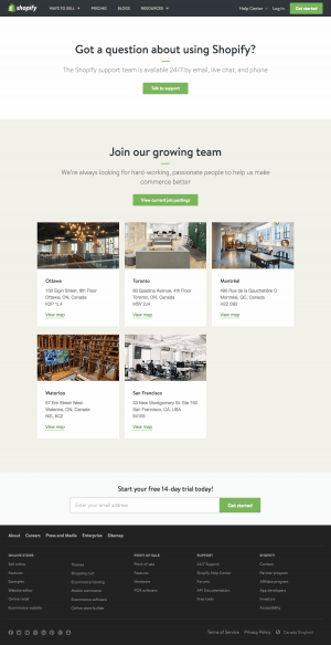 Contact page inspiration - saas Shopify
