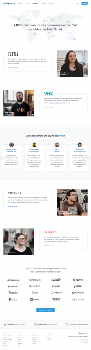 Customers page inspiration - saas Help Scout
