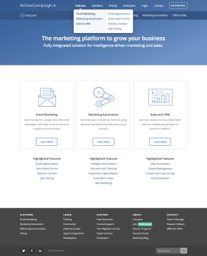 feature page inspiration - saas ActiveCampaign