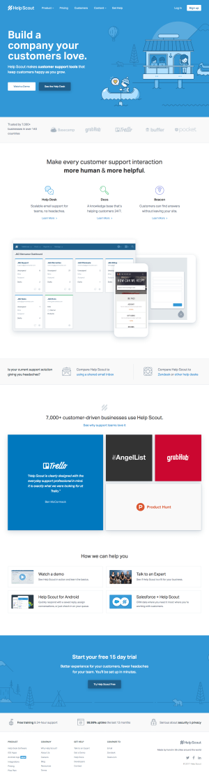 Homepage inspiration - saas Help Scout