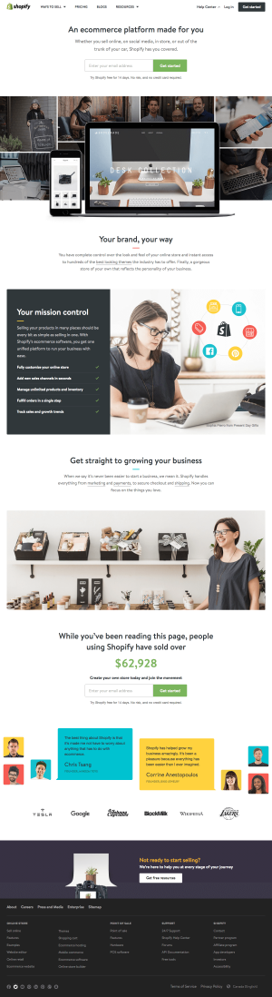 Homepage inspiration - saas Shopify