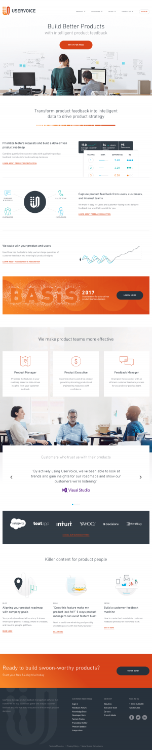 Homepage inspiration - saas UserVoice