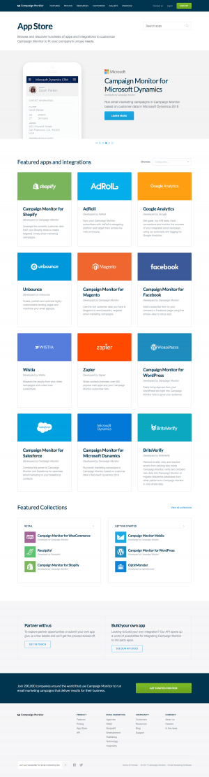 Integrations page inspiration - saas Campaign Monitor