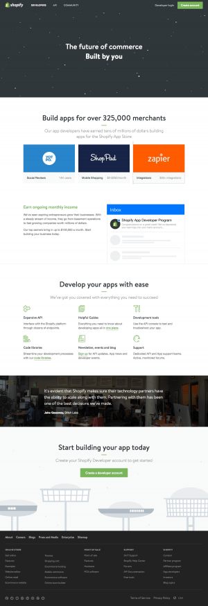 integrations page inspiration - saas Shopify