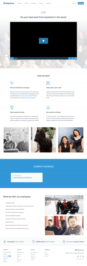 Jobs page inspiration - saas Help Scout
